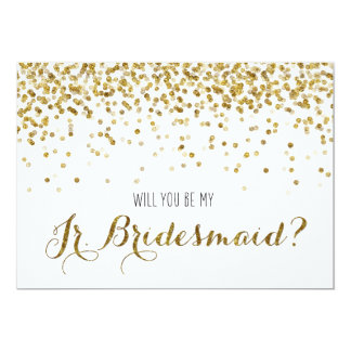 Gold Glitter Confetti Will you be my Jr Bridesmaid 5x7 Paper Invitation Card
