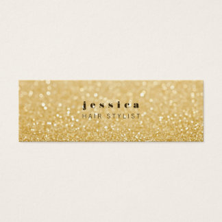 Gold Glitter Contemporary Hair Stylist Skinny Card