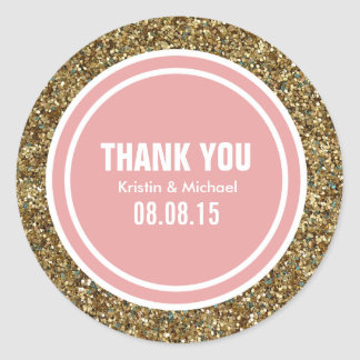 Gold Glitter Coral Pink Custom Thank You Label Round Sticker