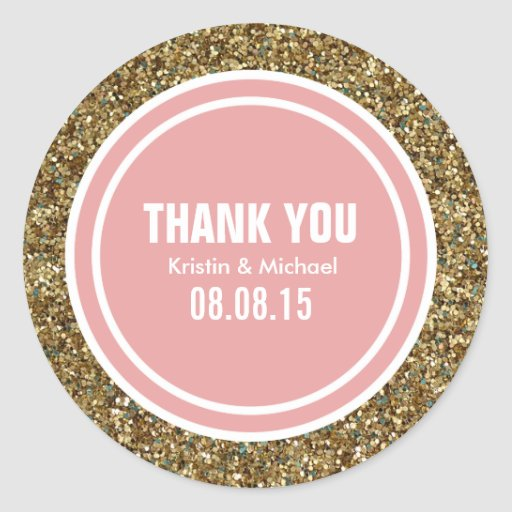 Gold Glitter Coral Pink Custom Thank You Label Round Stickers