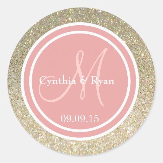 Gold Glitter & Coral Pink Wedding Monogram Classic