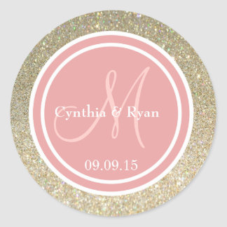 Gold Glitter & Coral Pink Wedding Monogram Round Sticker