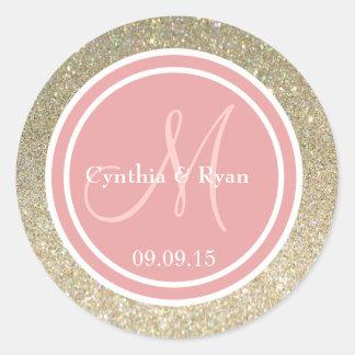 Gold Glitter & Coral Pink Wedding Monogram Round Sticker