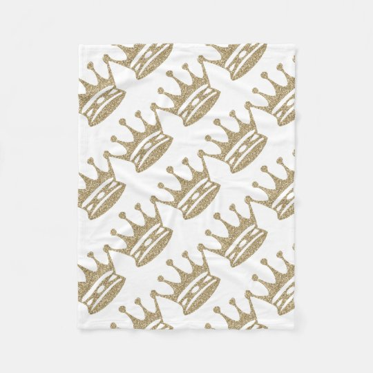 Gold Glitter Crown Fleece Blanket