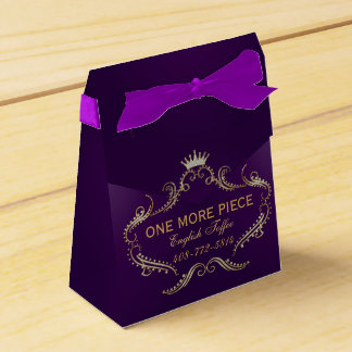 Gold Glitter Crown Frame Purple Background Party Favour Boxes