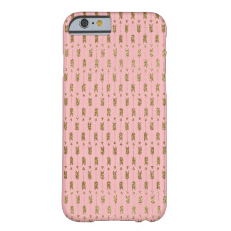 Gold Glitter Cupid Arrows on Pink Barely There iPhone 6 Case