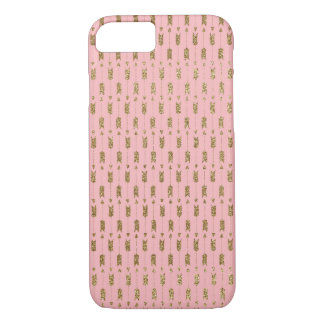 Gold Glitter Cupid Arrows on Pink iPhone 7 Case