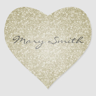 Gold Glitter Custom Name Heart Sticker