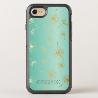 Gold Glitter Dandelion Seeds Flower on Aqua Blue OtterBox Symmetry iPhone 7 Case