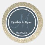 Gold Glitter & Dark Blue Gray Wedding Monogram Round Stickers