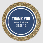 Gold Glitter Dark Navy Blue Custom Thank You Label Round Sticker