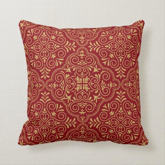 Gold Glitter & Dark Red Geometric Moroccan Pattern