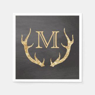 Gold Glitter Deer Antlers Chalkboard Monogram Disposable Napkin