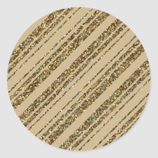 Gold Glitter Diagonal Stripes on Christmas Gold Round Sticker