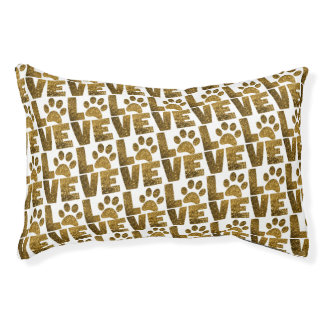 Gold Glitter Dog Love Dogs Paw Pet Bed