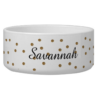 Gold Glitter Dots Custom Pet Bowl