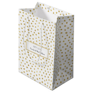 Gold glitter dots medium gift bag