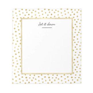 Gold glitter dots notepad