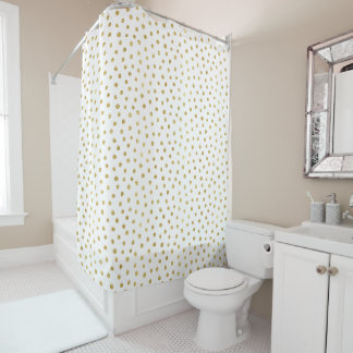 Gold glitter dots shower curtain