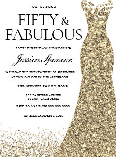 Gold Glitter Dress Womans 50th Birthday Party Invitation