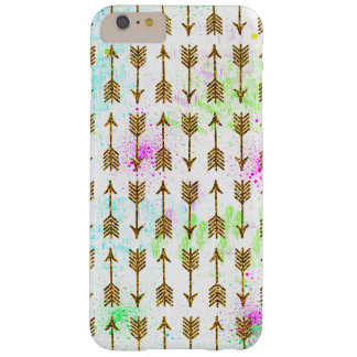 Gold glitter effect arrows watercolors splatters barely there iPhone 6 plus case