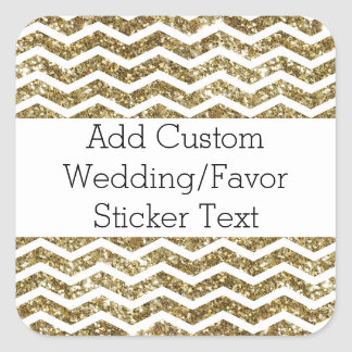 Gold Glitter Effect Elegant Chevron Zig-Zag Square Sticker