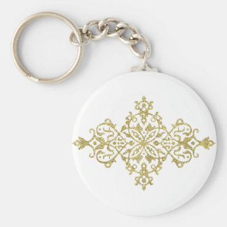 Gold Glitter Effect Simple Tribal Design Basic Round Button Key Ring
