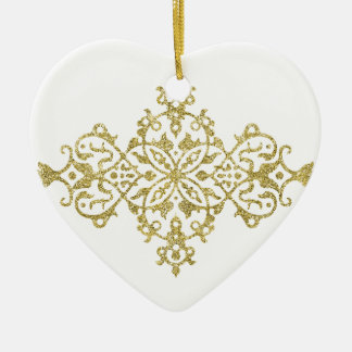 Gold Glitter Effect Simple Tribal Design Ceramic Heart Decoration