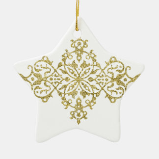Gold Glitter Effect Simple Tribal Design Ceramic Star Decoration