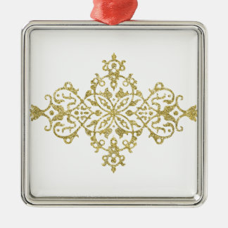 Gold Glitter Effect Simple Tribal Design Silver-Colored Square Decoration