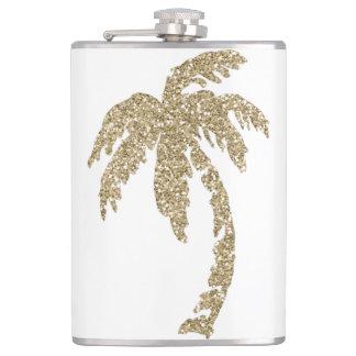 Gold Glitter Effect Tropical Palm Tree Flask 8oz