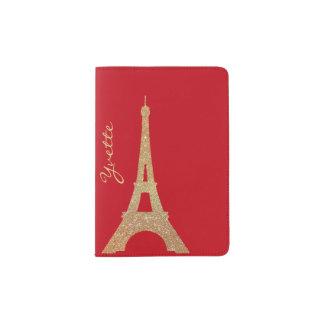 Gold Glitter Eiffel Tower Passport Holder