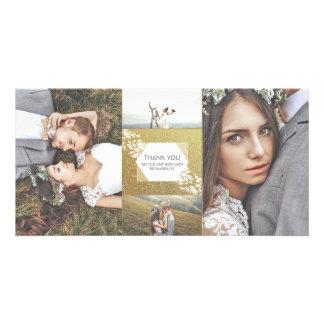 Gold Glitter Elegant Photo Wedding Thank You Custom Photo Card
