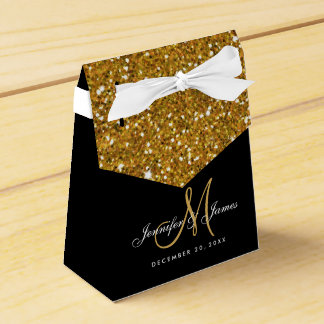 Gold Glitter Elegant Wedding Favor Box