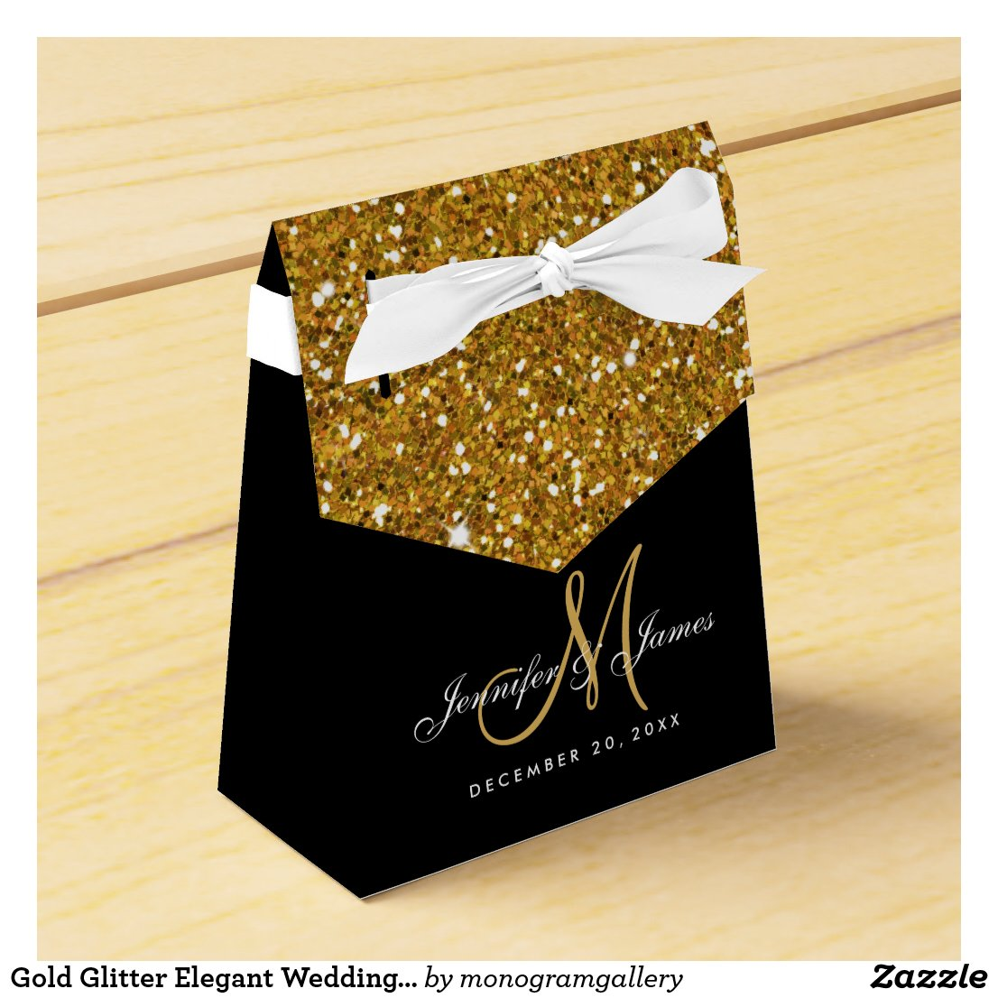 Gold Glitter Elegant Wedding Favour Box