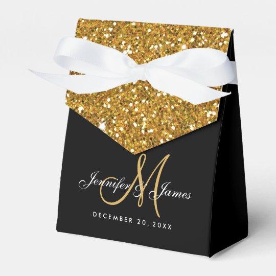 Gold Glitter Elegant Wedding Favour Box