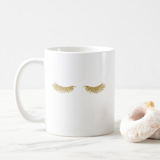 Gold Glitter Eyelashes Coffee Mug