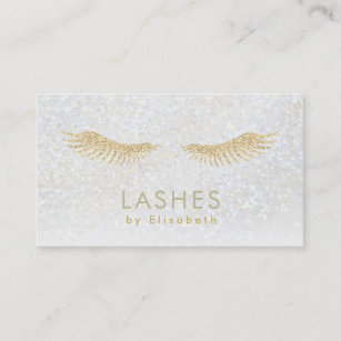 gold glitter eyelashes extensions business card - Eyelash Extension Business Cards