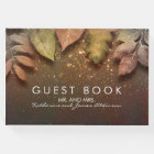 Gold Glitter Fall Leaves Vintage Wedding Guest Book
