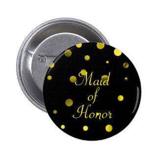 Gold Glitter Faux Foil Confetti Dots Maid of Honor 6 Cm Round Badge