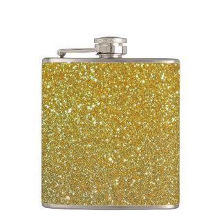 Gold Glitter Faux foil Hip Flask