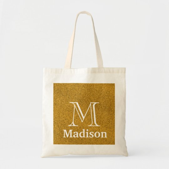 Gold glitter faux personalised monogram tote bag