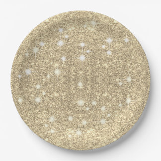 Gold Glitter Faux Sparkle 9 Inch Paper Plate