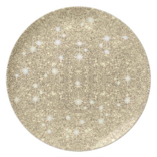 Gold Glitter Faux Sparkle Party Plates