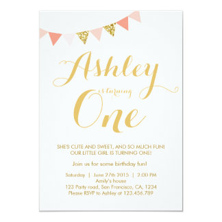 Gold glitter first Birthday invitation Blush Pink
