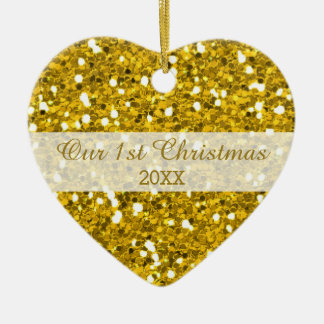 Gold Glitter First Christmas Couple Photo Christmas Ornament