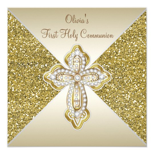 Gold Glitter First Communion Card