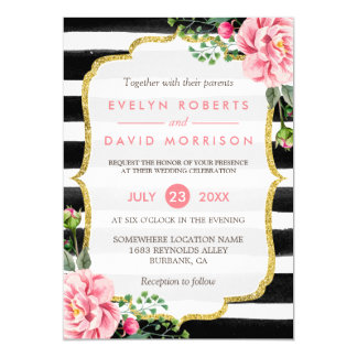 Gold Glitter Floral Black White Stripes Wedding 13 Cm X 18 Cm Invitation Card
