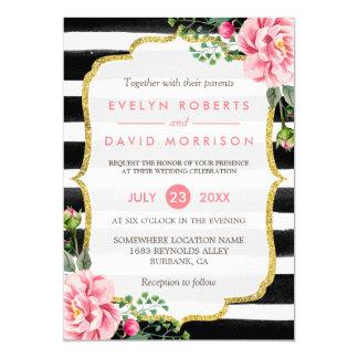 Gold Glitter Floral Black White Stripes Wedding 13 Cm X 18 Cm Invitation Card