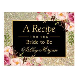 Gold Glitter Floral | Bridal Shower Recipe Card
